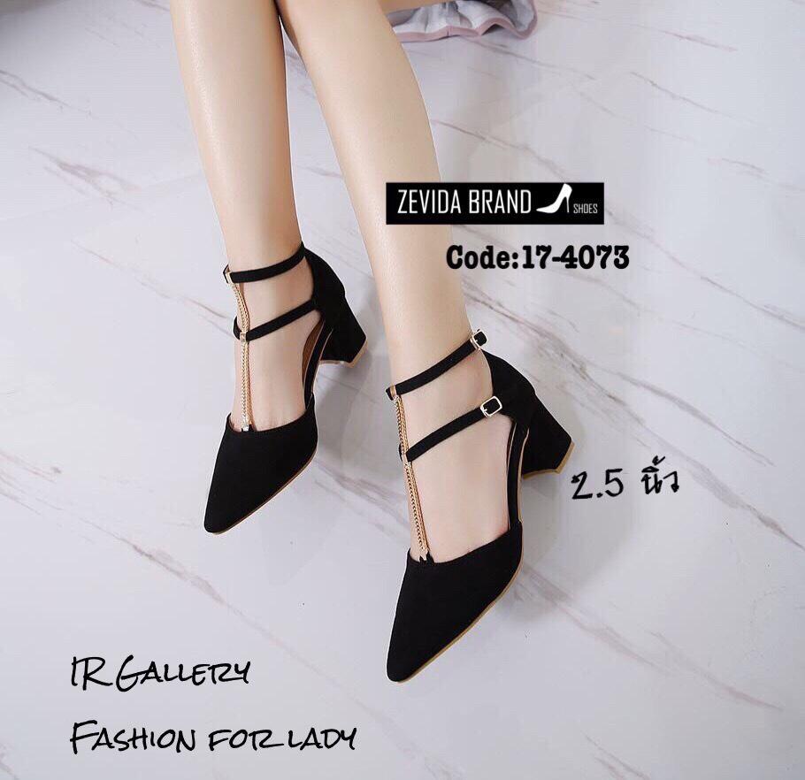 รองเท้าคัทชูส้นเตี้ยสายรัด2ชั้น (สีดำ)