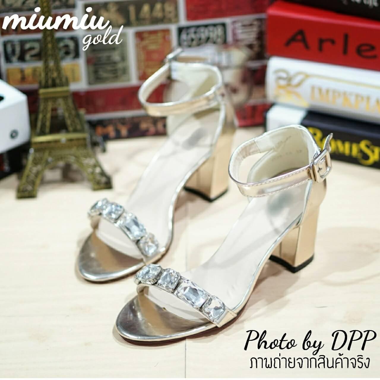 รองเท้าส้นตัน MIUMIU (สีทอง)