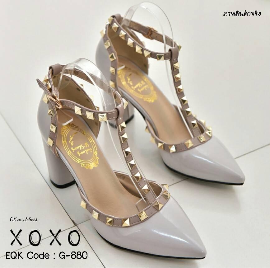 รองเท้าคัทชูส้นตันสไตล์ Valentino (สีเทา)