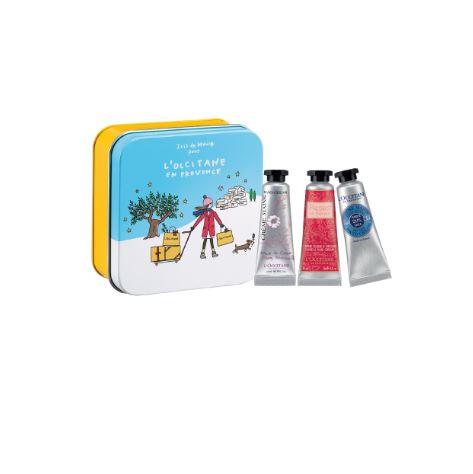 *พร้อมส่ง*L'Occitane 2016 Soft & Tender Hand Cream Set ครีมทามือ 3 กลิ่น มอบความชุ่มชื่น ลดความแห้งกร้าน ชะลอการเปิดริ้วรอย บำรุงเล็บให้แข็งแรง ลดการเปาะ หักง่าย เนื้อสัมผัสที่บางเบา ซึมซาบไว ไม่เหนียวเหนอะหนะ พร้อมกลิ่นหอมที่ติดทนนาน บรรจุในกล่ ,