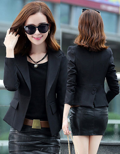 เสื้อสูทผู้หญิงใส่ทำงานแบบเรียบหรู มี 4 ไซส M/L/XL/2XL รหัส 1807-สีดำ