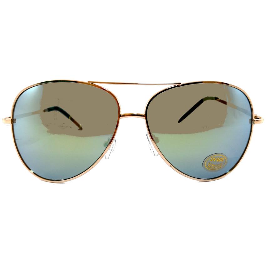 แว่นกันแดดแฟชั่น โอเวอร์ไซด์ คัลเลอร์ กรอบ โรสโกล์ด เลนส์ ปรอท