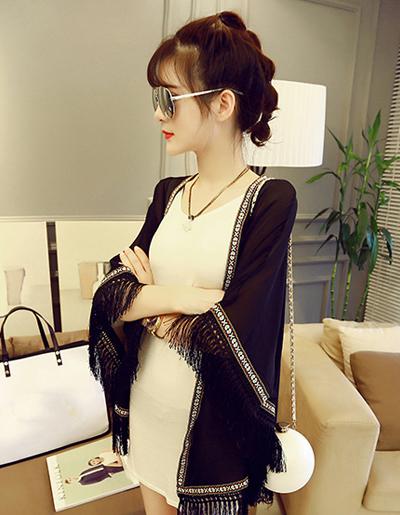 ผ้าคลุมไหล่แฟชั่นชายเสื้อแต่งพู่ สวย เก๋ สไตลเกาหลี-1541-สีดำ