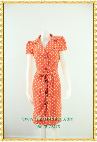 1524ชุดทํางาน เสื้อผ้าคนอ้วนปกฮาวายแหลมลายจุดส้มโดดเด่นสะดุดตา กระดุมหน้าครึ่งลำตัวแขนสั้นจีบไหล่สีสันสดใสสไตล์ชุดทำงาน