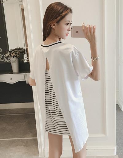 เสื้อแฟชั่นกึ่งเดรสคอกลมแขนสั้น แต่งเสื้อคลุมแหวกหลังสวยเก๋สไตล์เกาหลี-1669-สีขาว