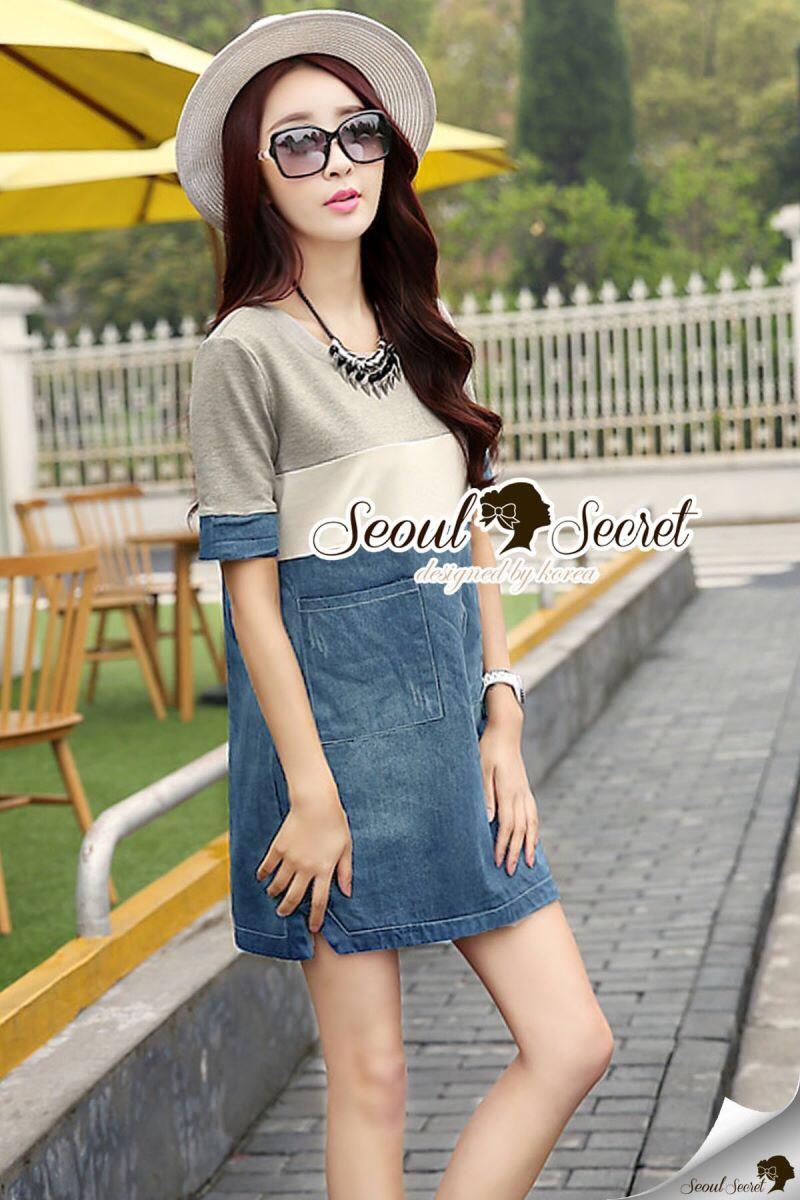 Seoul Secret Say's... Sweet Gray Stripe Denim Dress