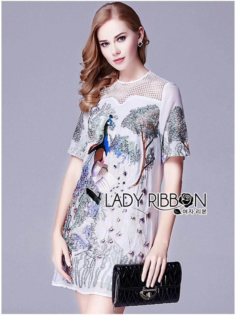 Lady Ribbon's Made Lady Alison Elegant Artful Peacock Embroidered Dress สีขาว