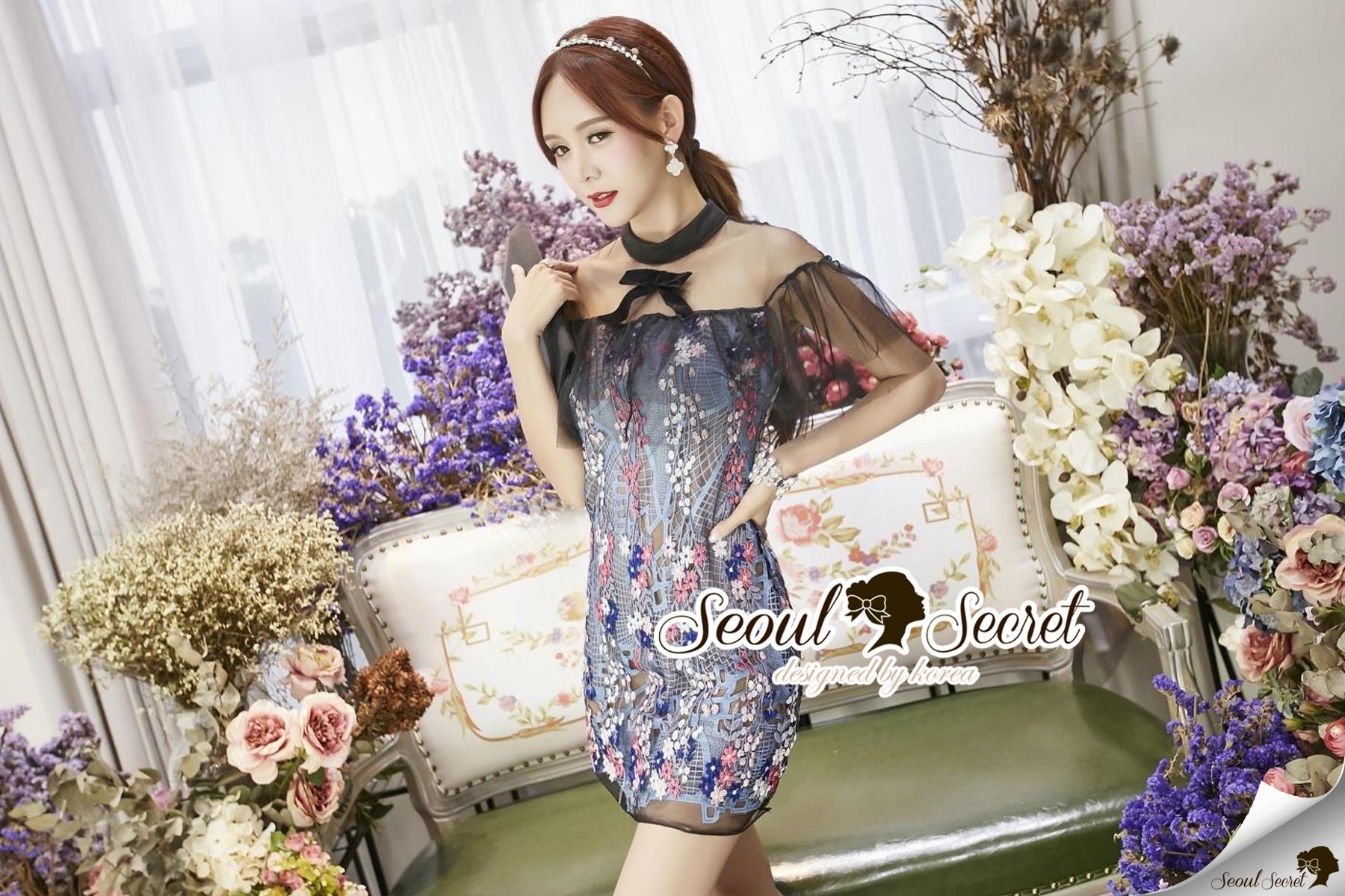 Seoul Secret Say's... Nista Party Flora Stickly Lace Dress