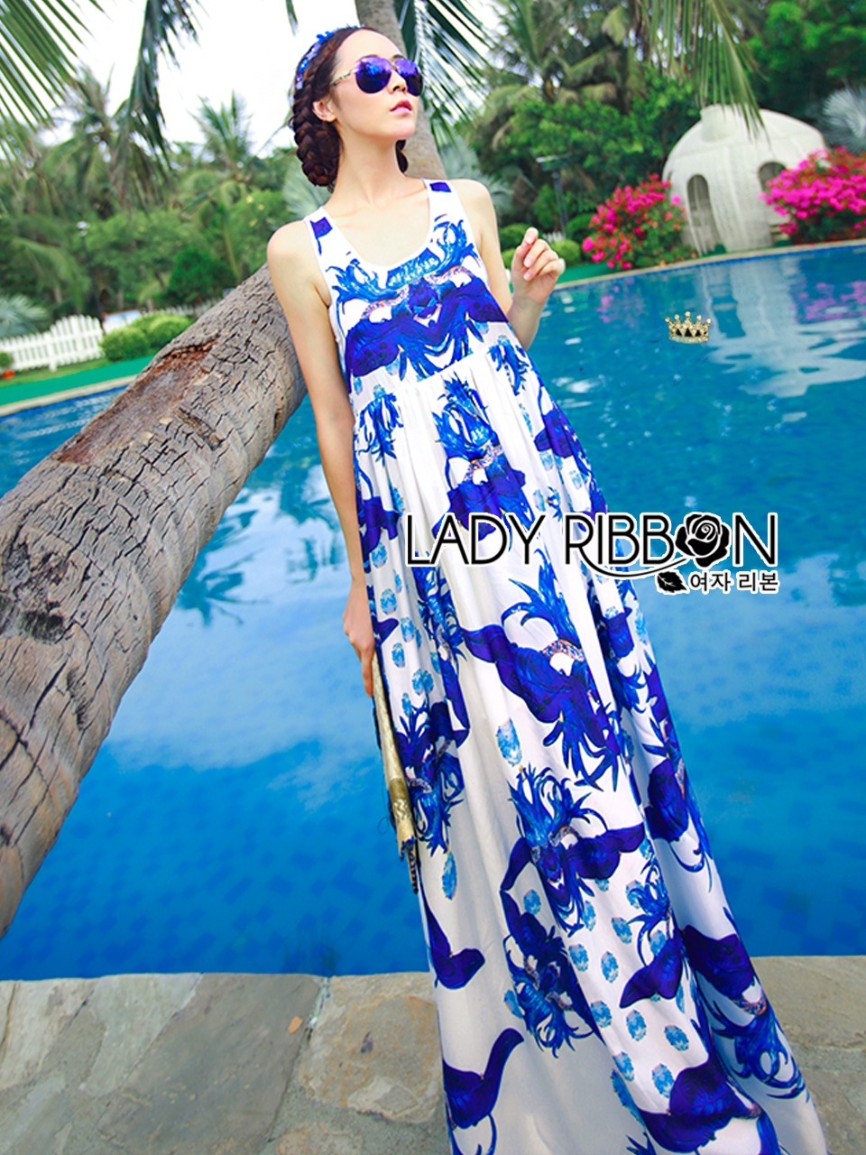Lady Grace Sexy Elegant White and Blue Printed Cut-Out Back Maxi Dress