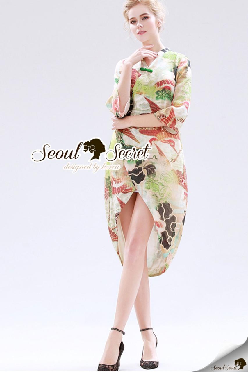 Seoul Secret Say's... Summery Tropacal Print Chic Dress