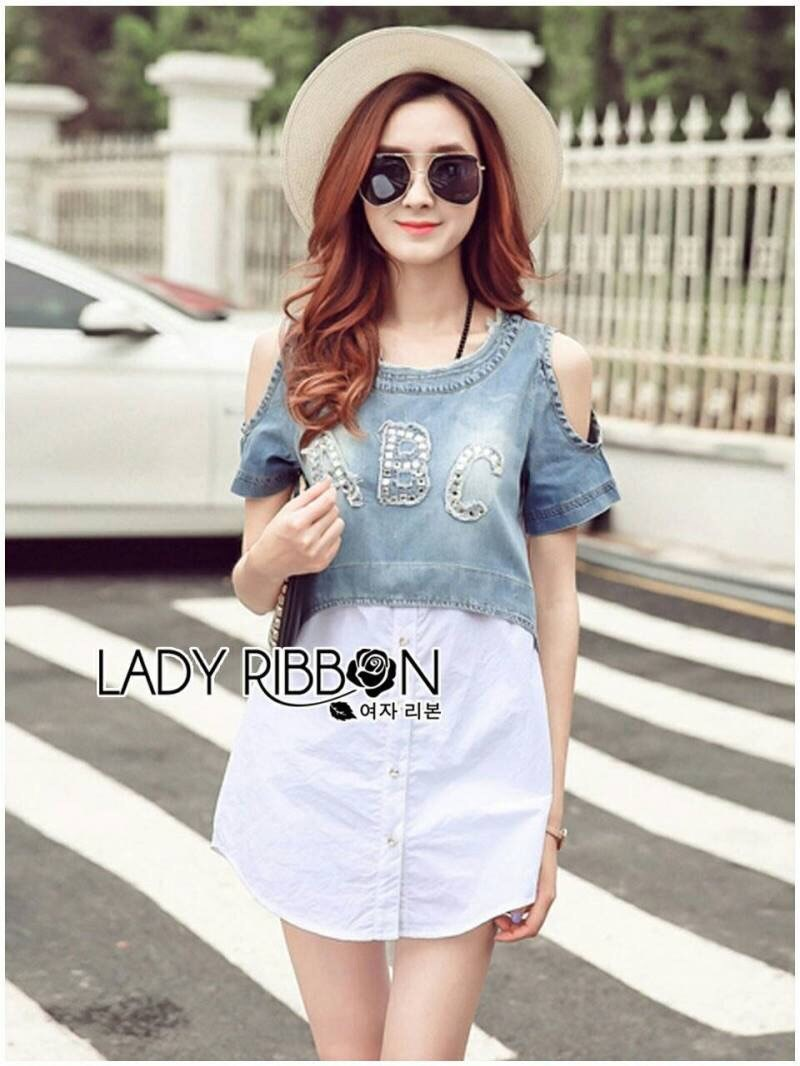 Lady Ribbon's Made Lady Miranda Casual Cut-Out Denim and Button-Down Cotton Dress