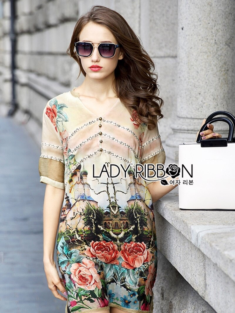 Lady Ribbon's Made Lady Kate Flower Blooming Printed Satin Dress