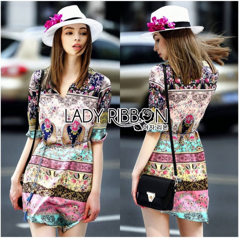 Lady Ribbon's Made Lady Florence Hippie Chic Printed Satin Dress