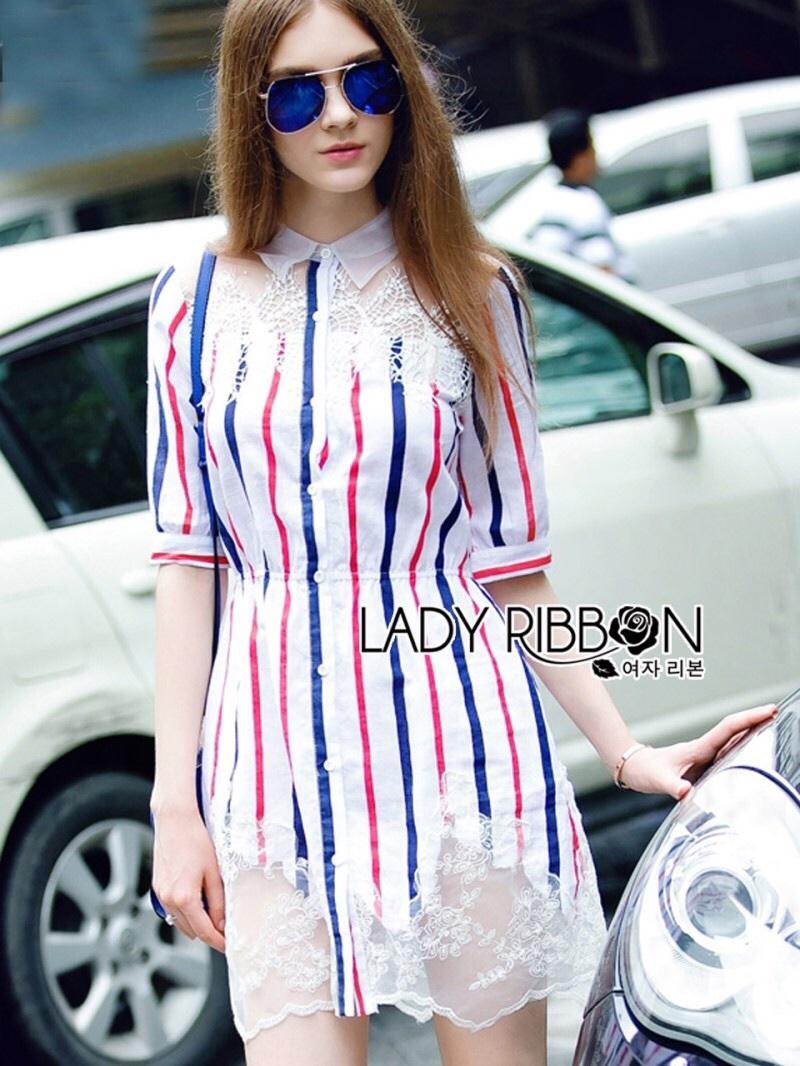 Lady Ribbon's Made Lady Julie Minimal Insert Lace Striped Short Dress