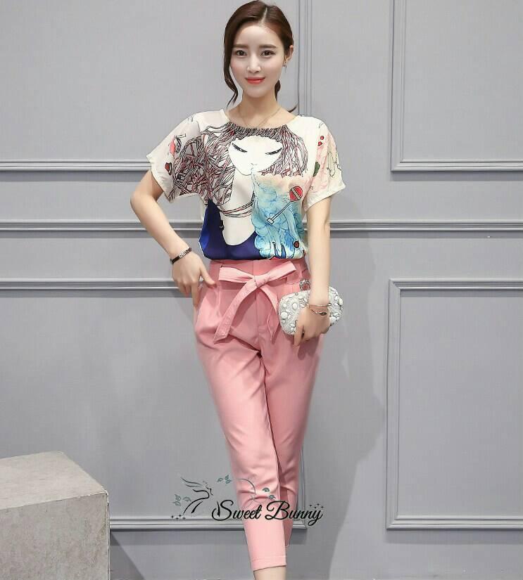 Sweet Bunny Present... Single Slit Accent Pink Pants Set