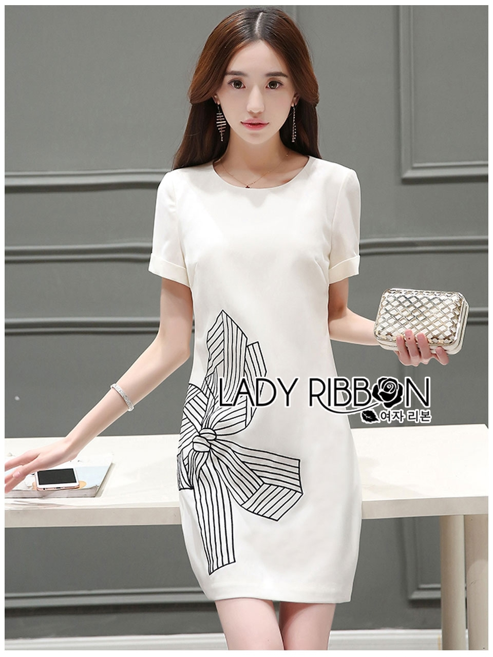 Lady Ribbon's Made Lady Carrie Smart Minimal Ribbon Embroidered White Dress