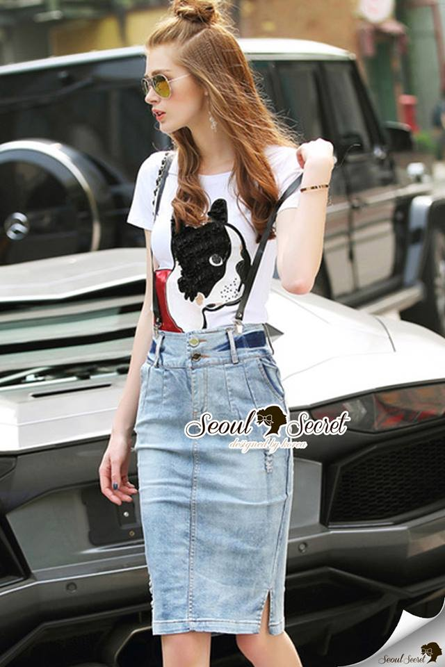 Seoul Secret Say's... Doggy Sequinny Chic Denim Skirt Set
