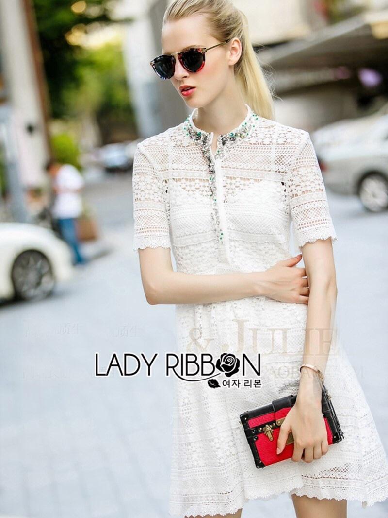 Lady Ribbon's Made Lady Gabby Pretty Crystal Embellished Lace Shirt Dress