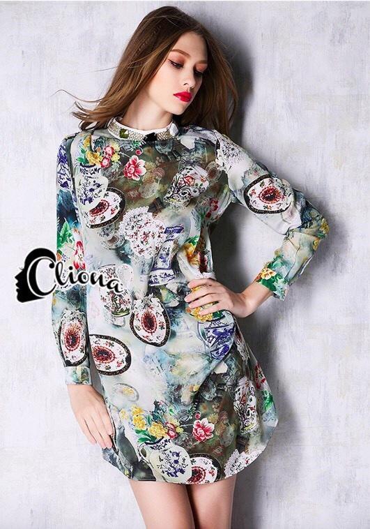 ClioNa made' Nadia Colorful Long Shirt Dress