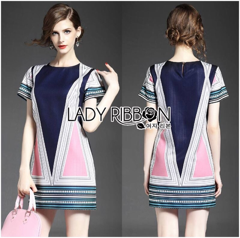 Lady Ribbon's Made Lady Elaine Minimal Graphic Line Printed Cotton&Polyester Dress