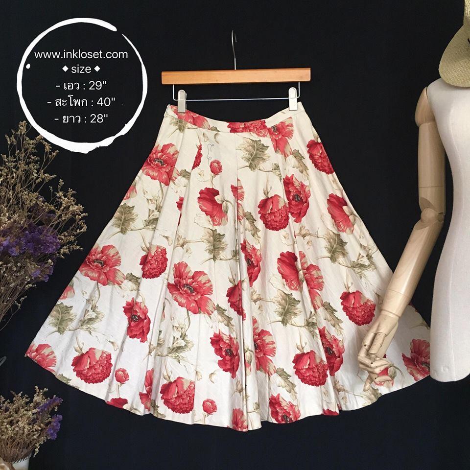 vintage skirt : กระโปรงวินเทจ สีครีมพิมพ์ลายดอกโบตั๋น จับจีบใหญ่รอบตัว ผ้าแคนวาสเนื้อดีพร้อมซับใน