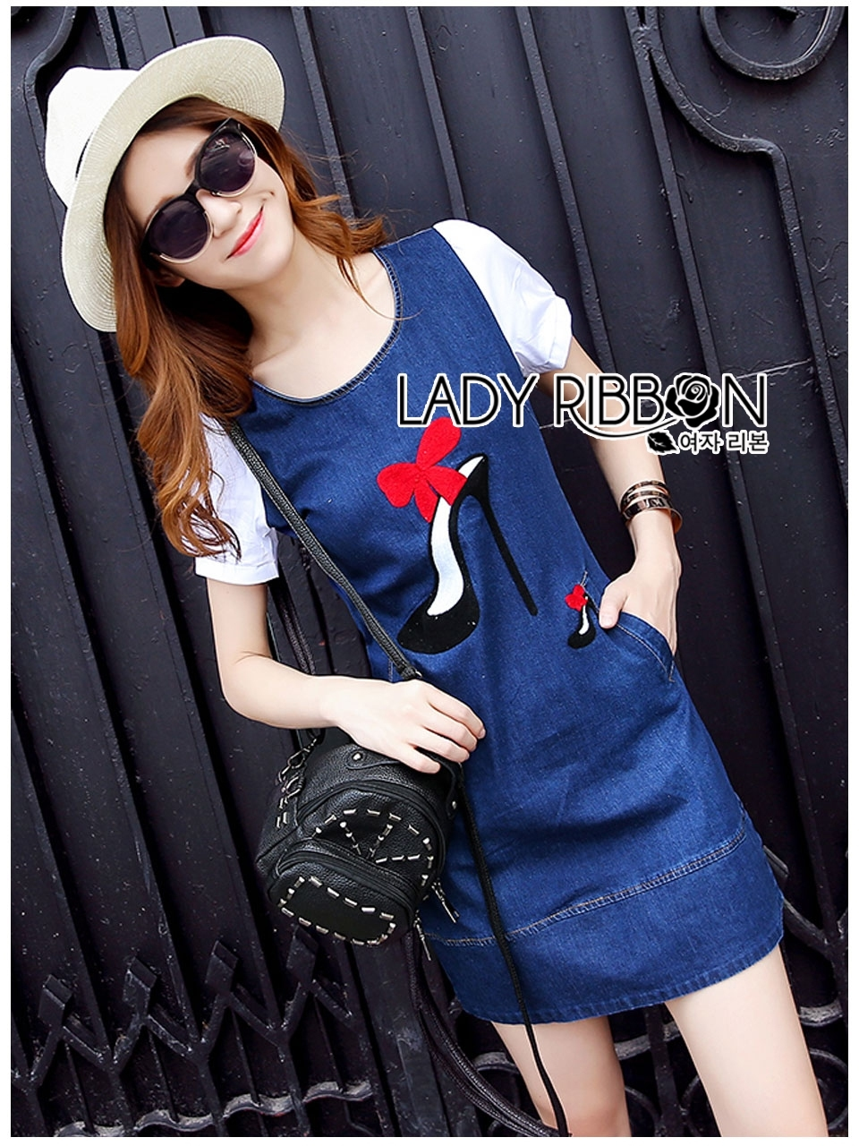 Lady Ribbon's Made Lady Leslie Fashionable Red Ribbon High Heel Embroidered Cotton and Denim Dress