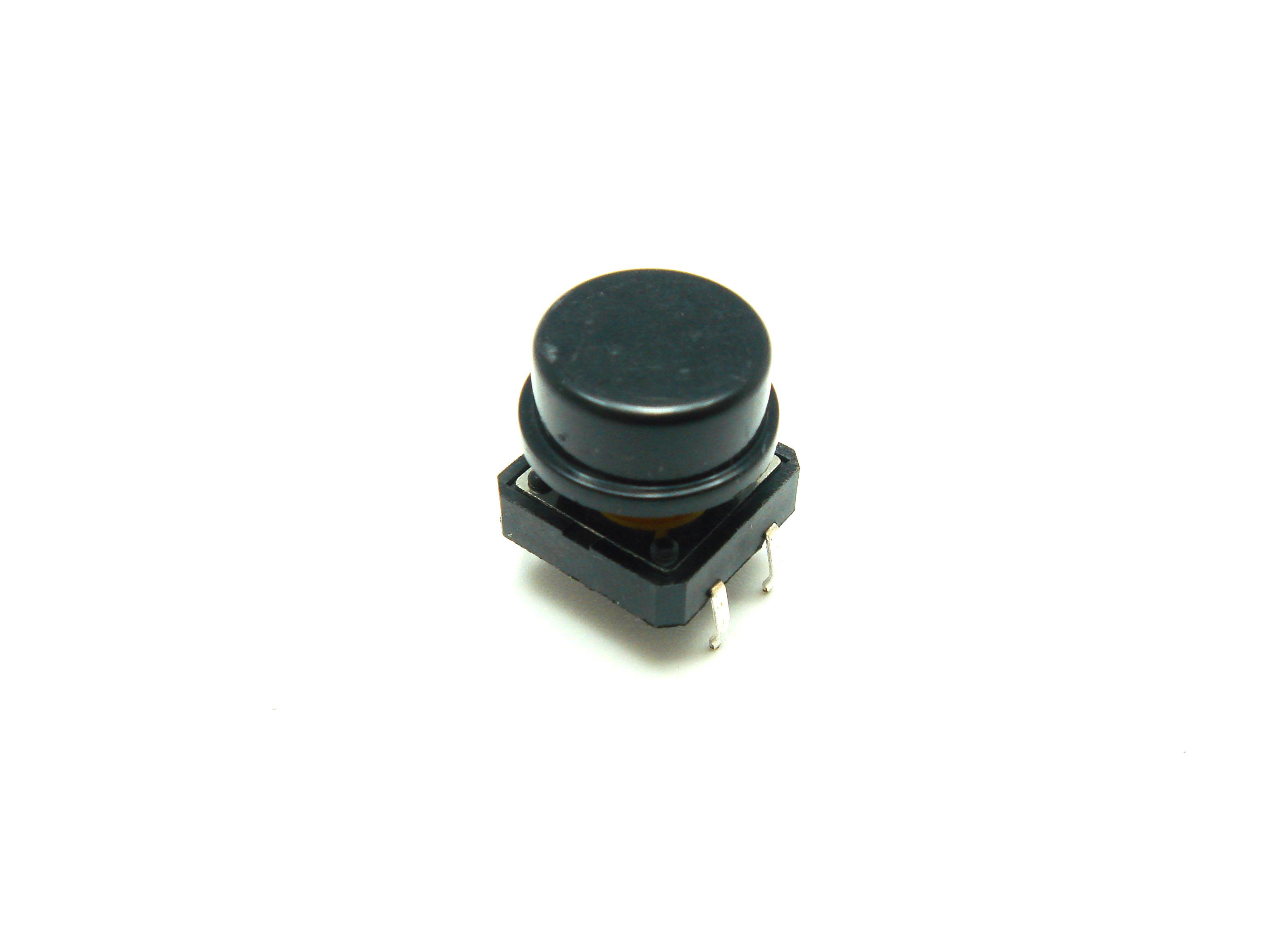 สวิตช์ ปุ่มกดติดปล่อยดับ B3F ขนาด 12 * 12 * 7.3 mm หัวสีดำ