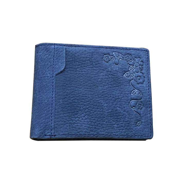 GT-1618A กระเป๋าสตางค์ผู้ชาย หนังแท้ฟอกด้าน สีน้ำเงิน ตีลาย