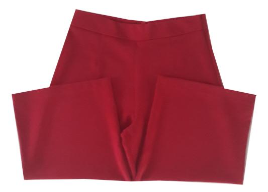 กางเกงห้าส่วนผ้าฮานาโกะ ขาบานเอวสูง สีเลือดหมู Size S M L XL