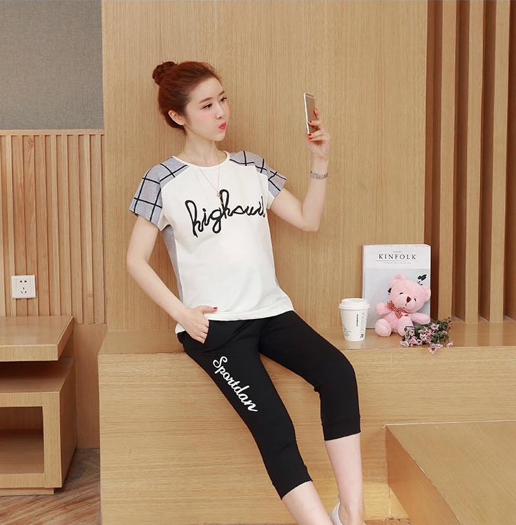 ชุดเสื้อคลุมท้อง+กางเกง 5ส่วน ลายสวย มีผ้าพยุงครรภ์ ปรับขนาดครรภ์ได้ สีขาว M,L,XL,XXL