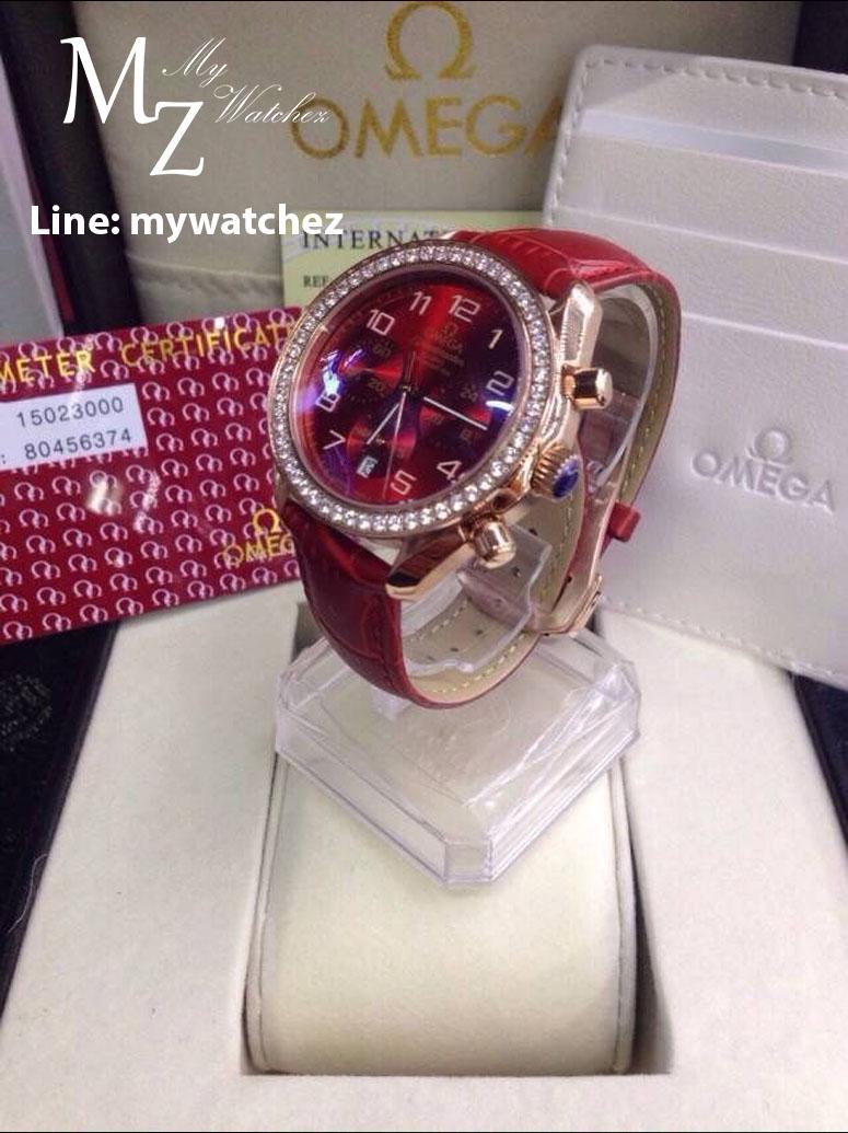 Omega Speedmaster Chronograph 38 MM Ladies - Red/Diamonds