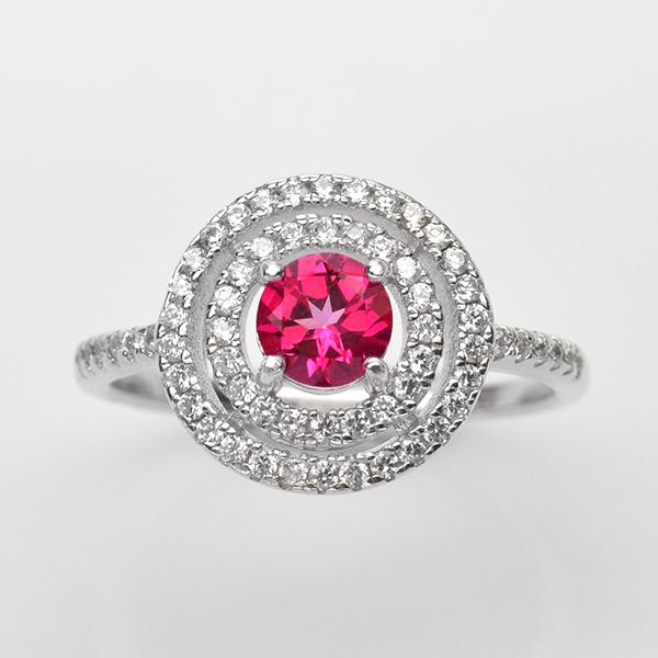 แหวนพลอยแท้ แหวนเงิน925 พลอย พิ้งค์ โทปาส ประดับเพชร CZ ชุบทองคำขาว