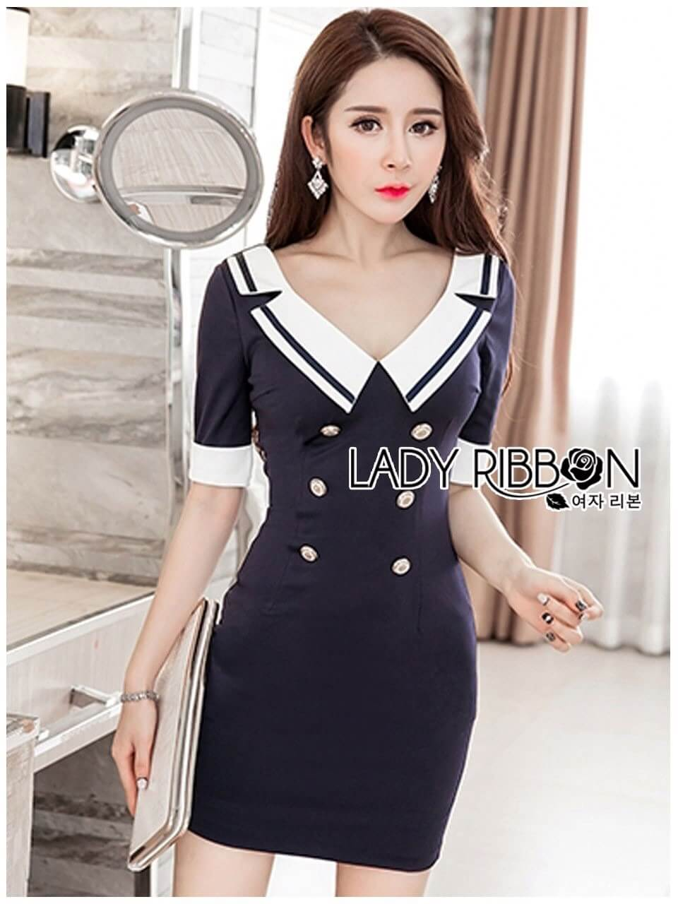 &#x1F380 Lady Ribbon's Made &#x1F380 Lady Leslie Navy Double-Breasted Collared Mini Dress