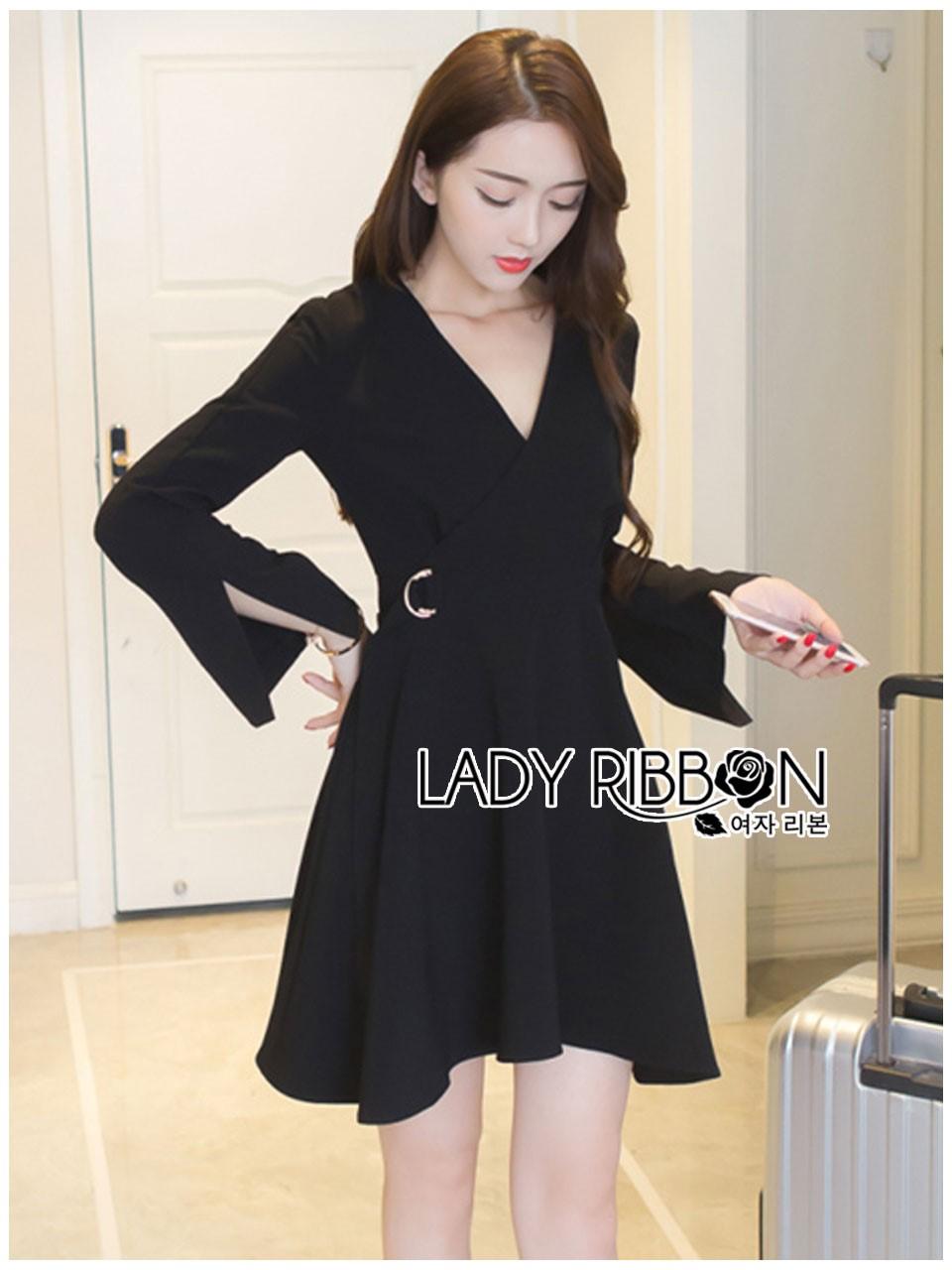 &#x1F380 Lady Ribbon's Made &#x1F380 Lady Lena Plain Basic Black Dress with Metal Ring