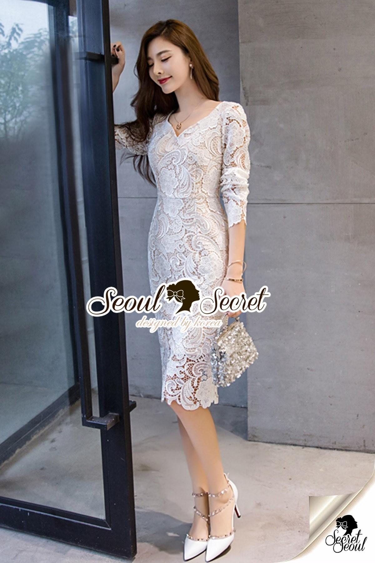 Seoul Secret Say's... Lovely V Lace Dress