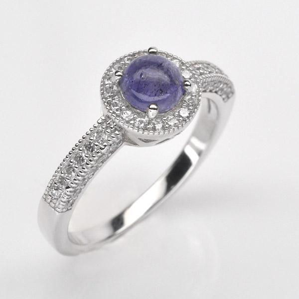 แหวนพลอยแท้ แหวนเงิน925 พลอยแทนซาไนท์ ประดับเพชร CZ ชุบทองคำขาว