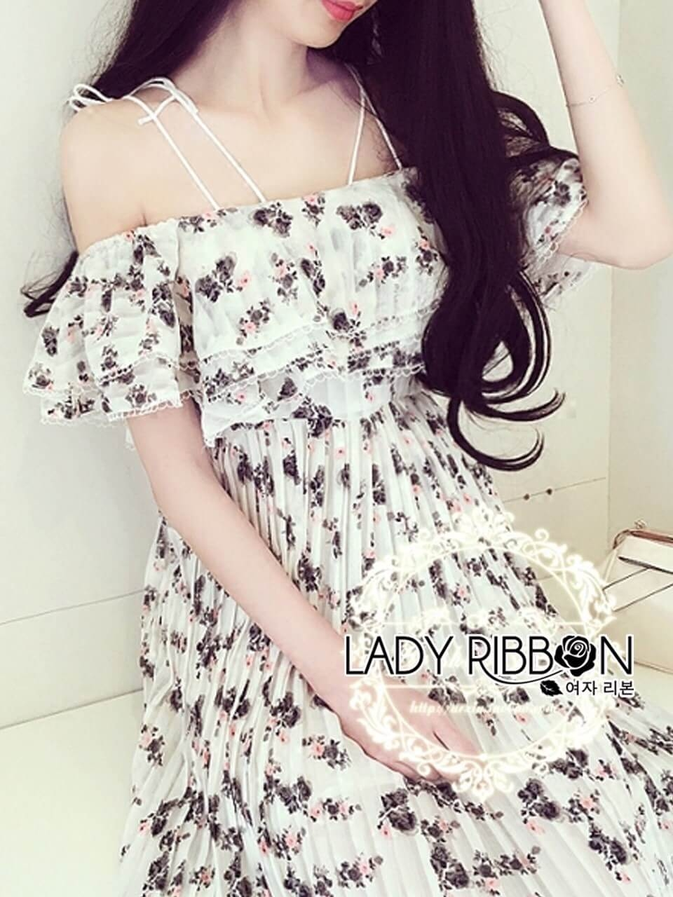 &#x1F380 Lady Ribbon's Made &#x1F380 Lady Laura Sweet Feminine Floral Printed Plated Strappy Dress