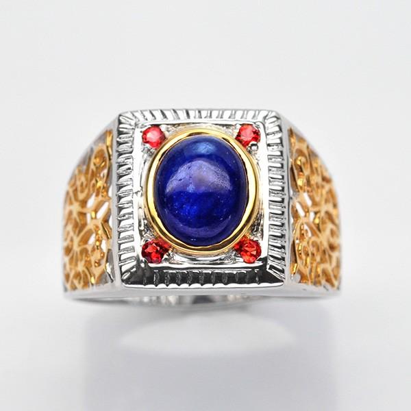 แหวนพลอยแท้ แหวนเงิน925 พลอย ไพลิน ตัวเรือน ชุบสองกษัตร ทองคำขาว-ทองคำ
