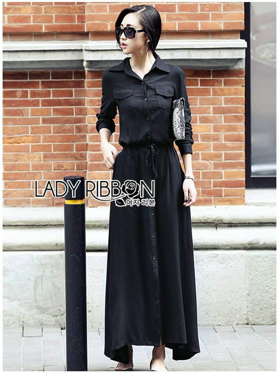 &#x1F380 Lady Ribbon's Made &#x1F380 Lady Elise Minimal Black Cotton Maxi Shirt Dress
