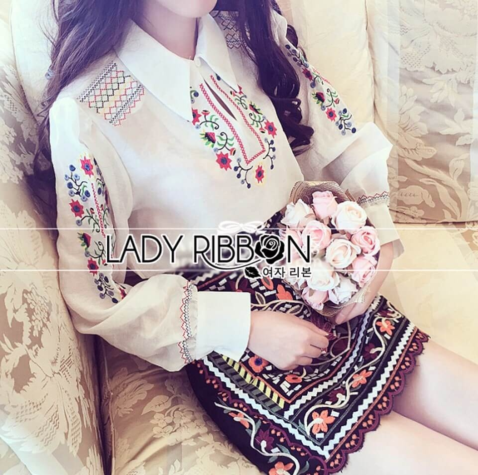 &#x1F380 Lady Ribbon's Made &#x1F380 Lady Andy Tribal Chic Embroidered Cotton White Shirt and Black Skirt Set