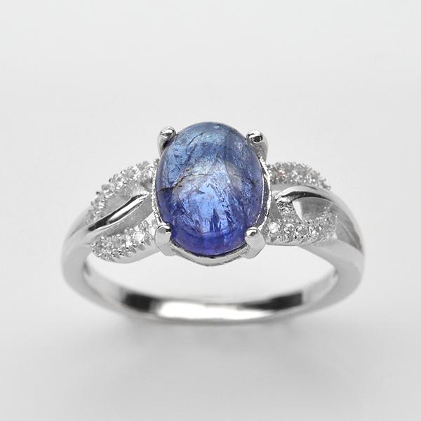 แหวนพลอยแท้ แหวนเงินแท้ 925 ชุบทองคำขาว ฝังพลอยแทนซาไนท์ ประดับด้วยเพชร CZ เกรดพรีเมี่ยม