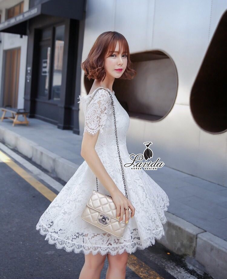 Korea Design By Lavida Noble floral lace short sleeve pretty dress code854