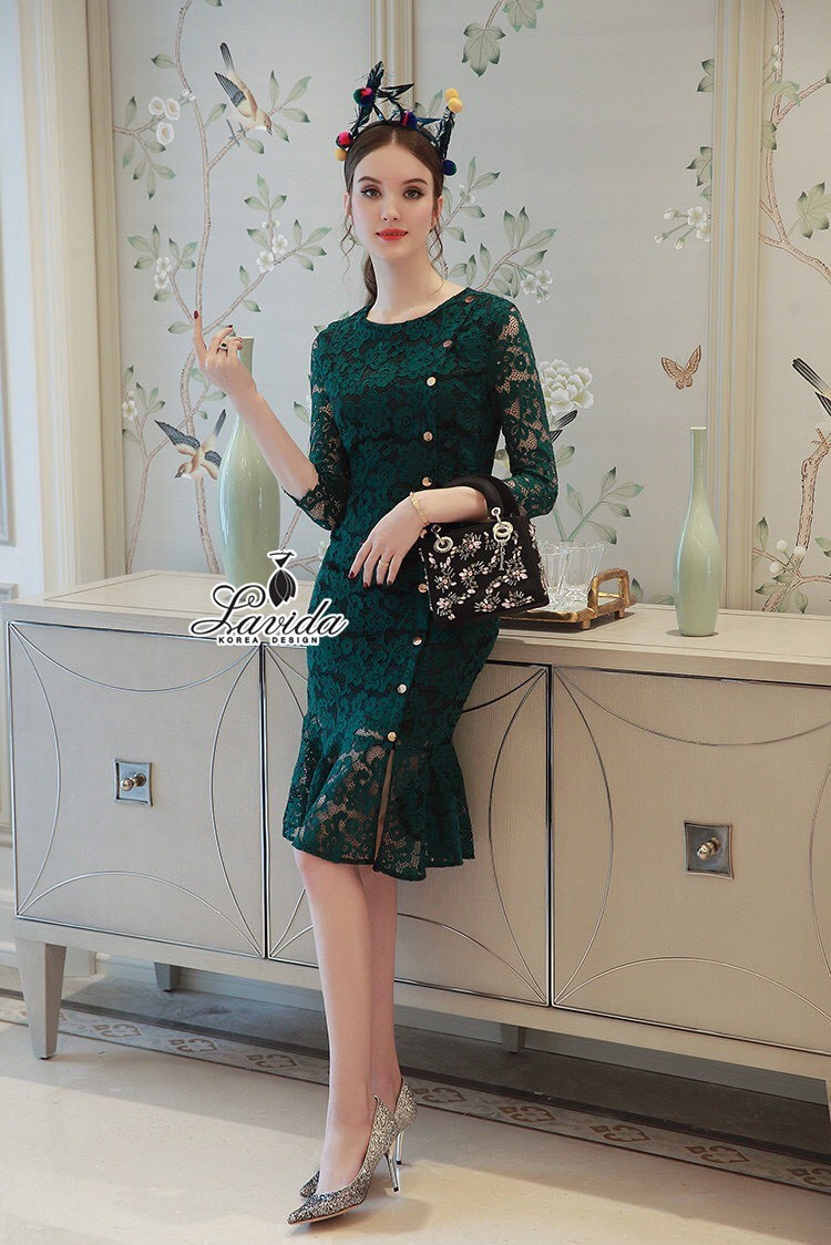 Korea Design By Lavida Floral pendulum lace button decoration dress code1764