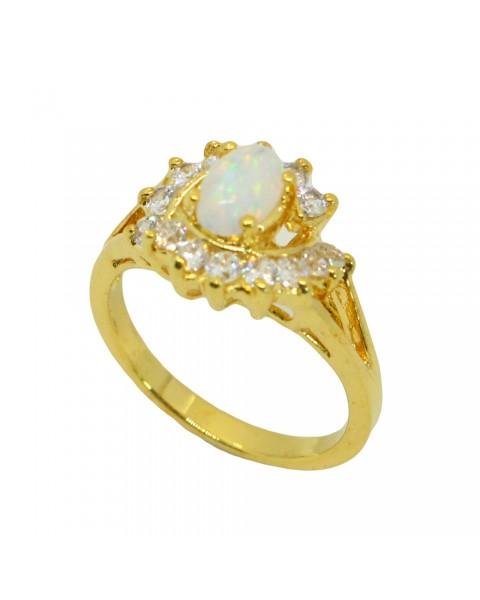 แหวนโอปอลประดับเพชร ตัวเรือนอัลลอยด์หุ้มทองคำแท้