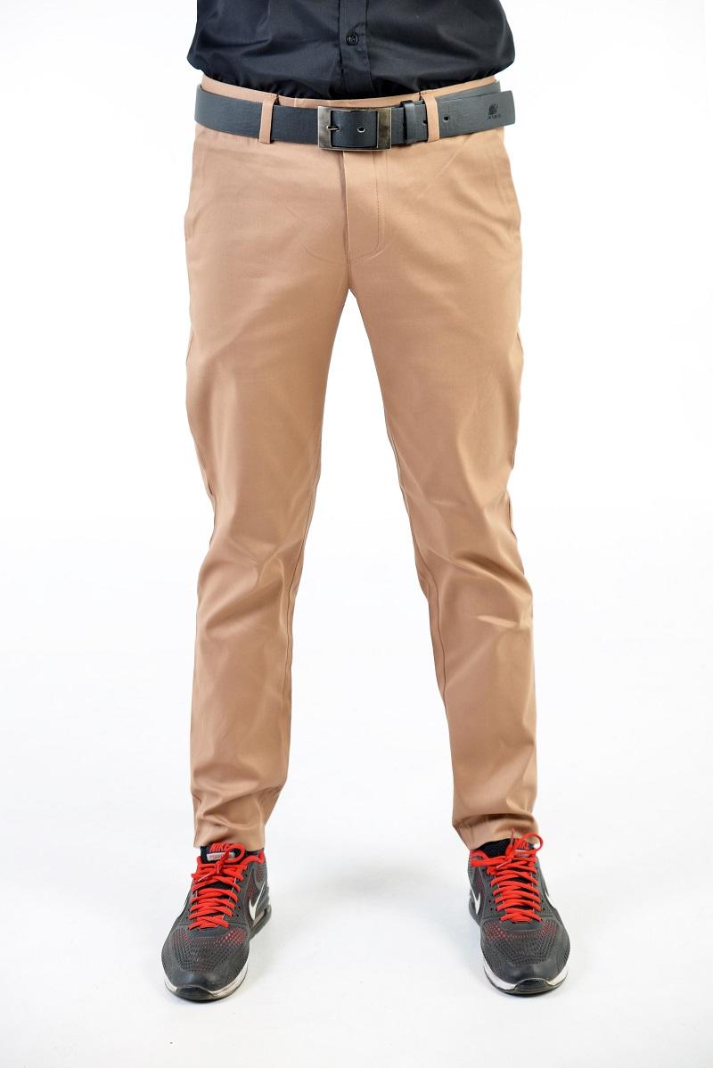 กางเกงสแล็คผู้ชายสีชานม ผ้ายืด ทรงกระบอกเล็ก