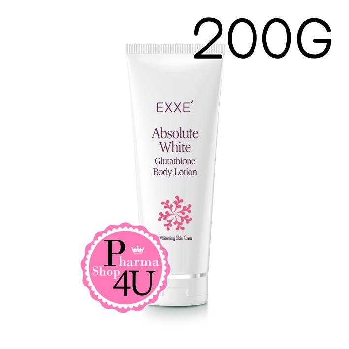 EXXE Absolute white Glutathione Body Lotion 200G เอ็กซ์เซ่ แอบโซลูท ไวท์ โลชั่นบำรุงผิวขาวสว่างกระจ่างใส ผสมจากธรรมชาติ มีกลิ่นหอมพร้อมทั้งทำให้ผิวเนียนนุ่ม ชุ่มชื้น