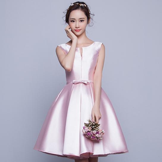ชุดเดรสออกงาน ชุดไปงานแต่งงานสีชมพู แขนกุด