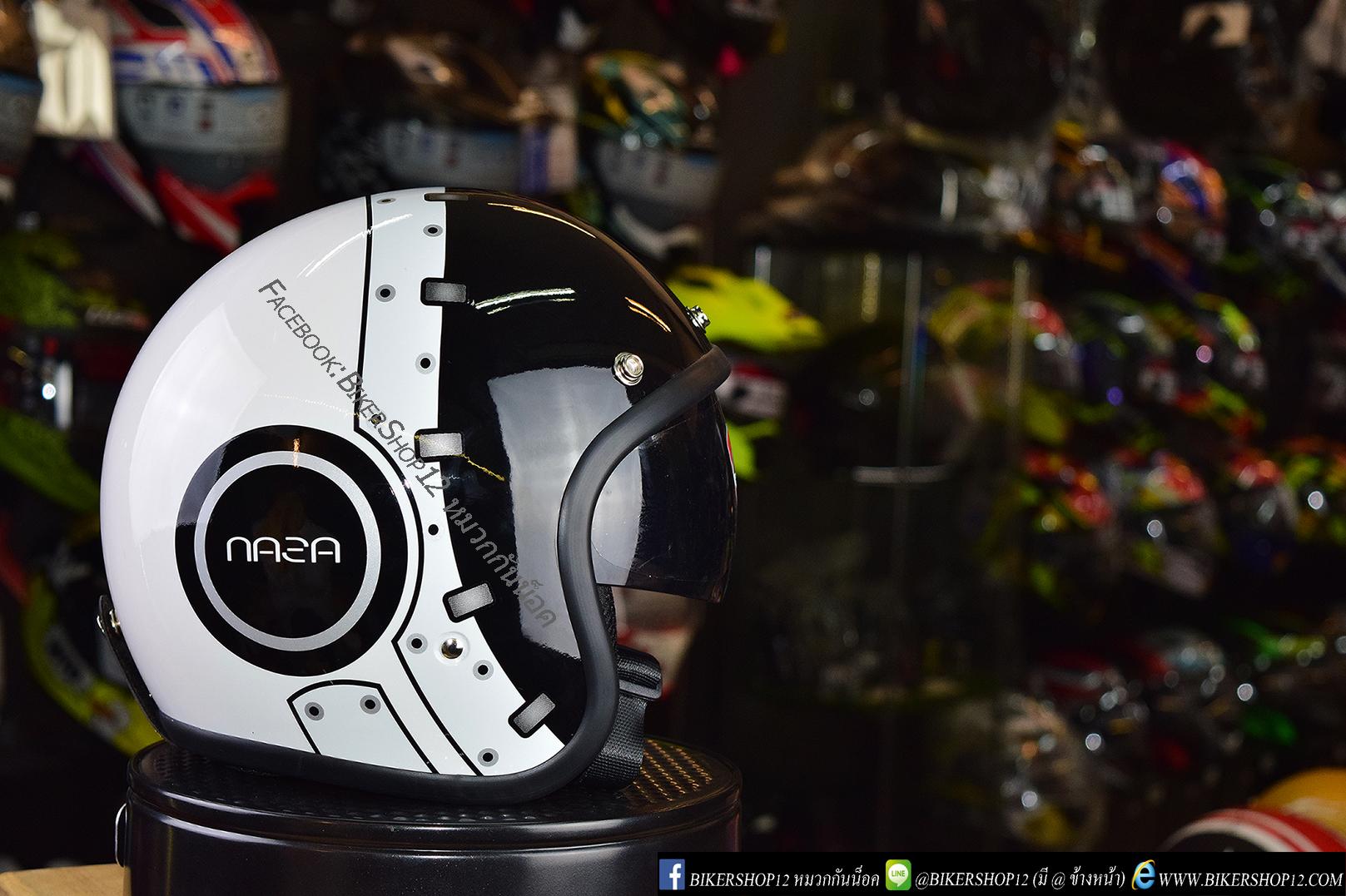 หมวกกันน็อคคลาสสิก 5เป๊ก (มีแว่น) สี Nasa Black-White