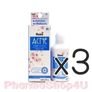 (ซื้อ3 ราคาพิเศษ) Haru Acne Clear Lotion 30g ใช้ทาสิวบริเวณที่ต้องการ สูตรอ่อนโยน สำหรับคนแพ้ง่าย