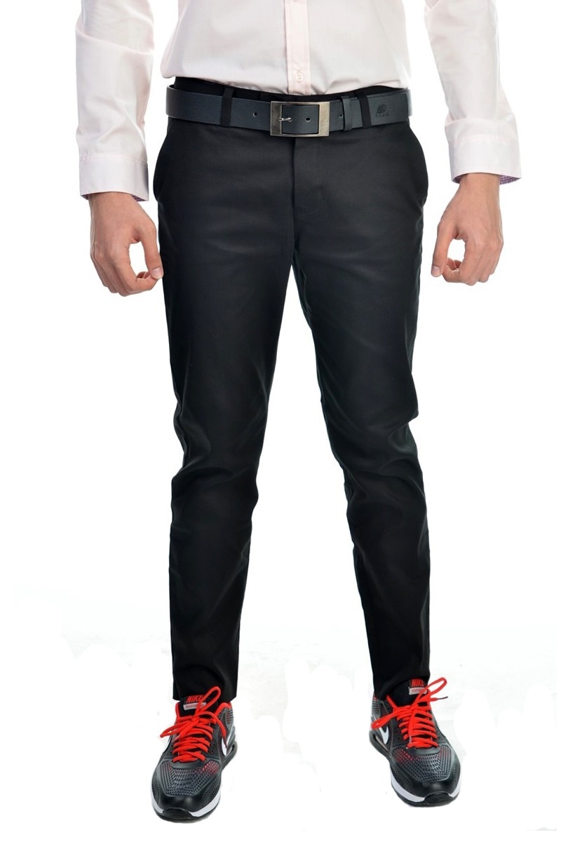 กางเกงสแล็คผู้ชายสีดำ ผ้ายืด ทรงกระบอกเล็ก